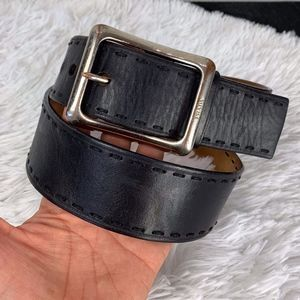 Prada Size 36 Mens Black Leather Belt, Stl#1C 2292